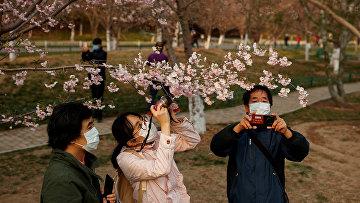Посетители парка в Пекине, Китай