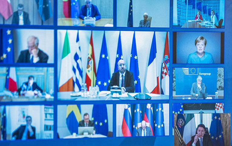 Лидеры Европейского союза на видеоконференции