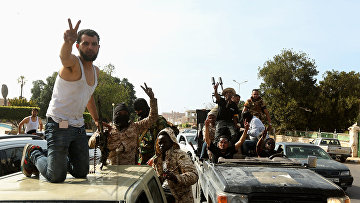 Боевики в городе Сабрата, отбитом у армии Хафтара