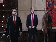 Изображения Си Цзиньпина, Дональда Трампа, Ленина и Сталина в Москве