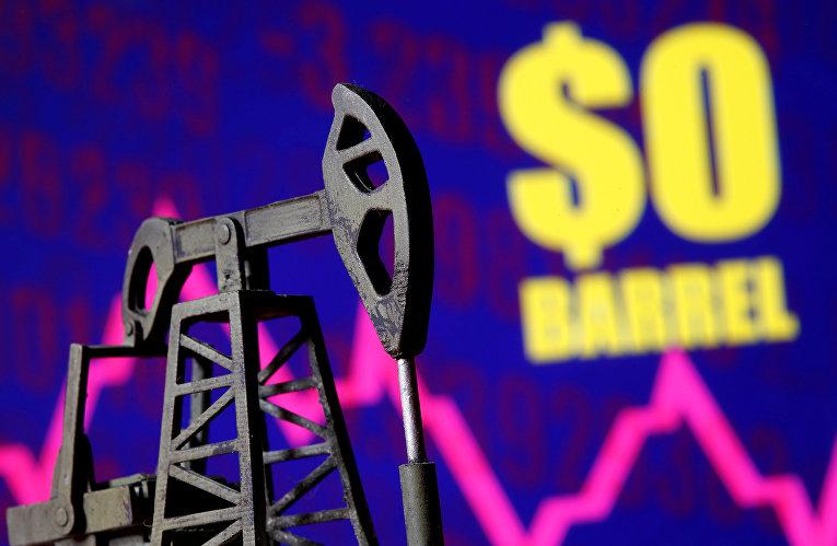 Нефтяная вышка на фоне графика цены на нефть