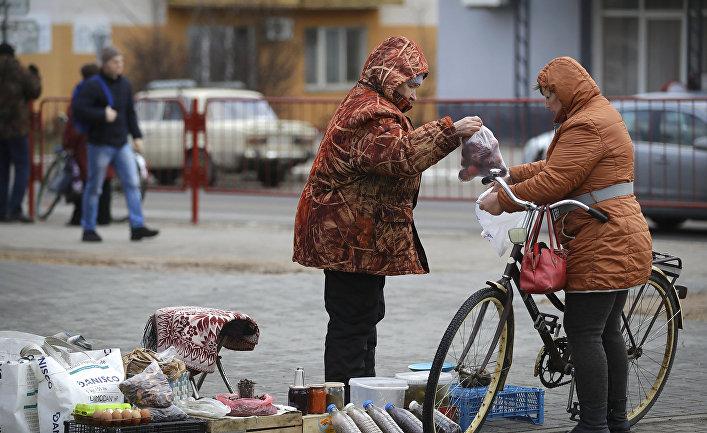 Женщина продает яблоки в городе Марьина Горка, Беларусь