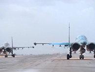Вылет первой группы самолетов ВКС с авиабазы Хмеймим в пункты постоянного базирования на территории России