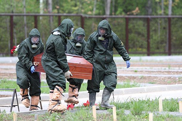 Похороны умершего от коронавируса на кладбище на окраине Москвы