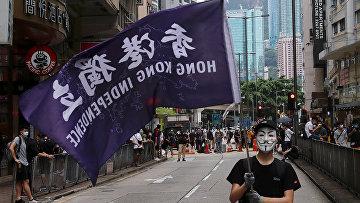 Участник антиправительственного протеста в Гонконге