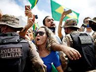 Участники акции протеста в Бразилиа, Бразилия