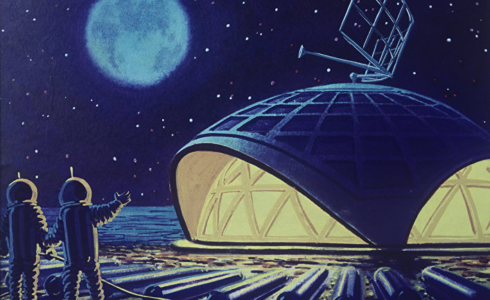 Репродукция картины художника-фантаста Андрея Соколова «Лунный дом»