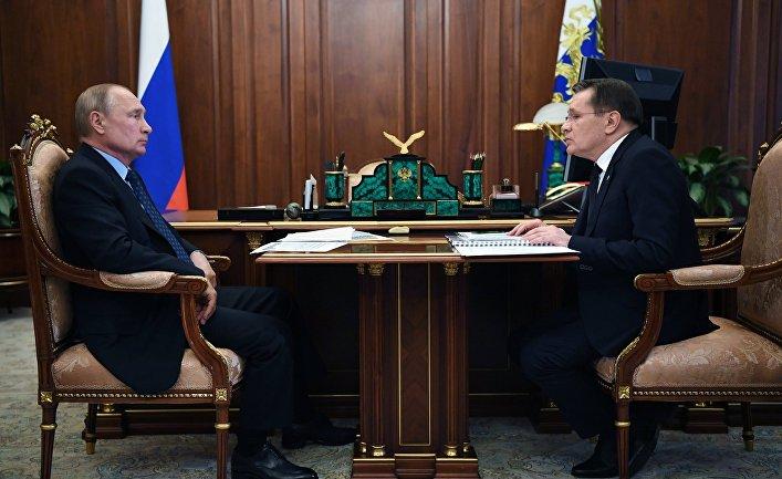 Президент РФ В. Путин провел встречу с главой Росатома А. Лихачевым
