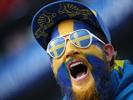 Болельщик сборной Швеции перед началом матча 1/4 финала Чемпионата мира по футболу в России