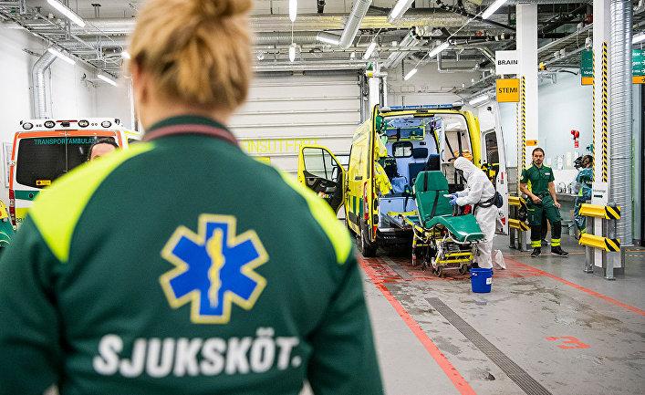 Станция дезинфекции в больнице Дандерид близ Стокгольма, Швеция