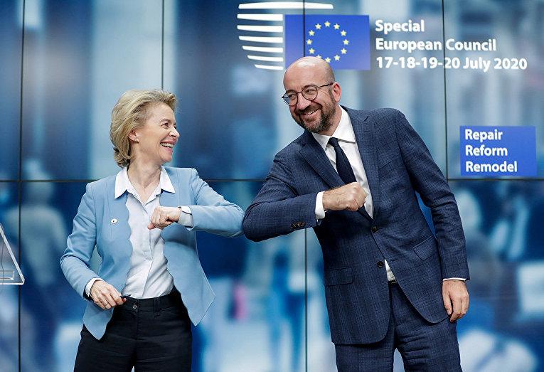 Президент Европейского Совета Шарль Мишель и председатель Европейской комиссии Урсула фон дер Ляйен в Брюсселе