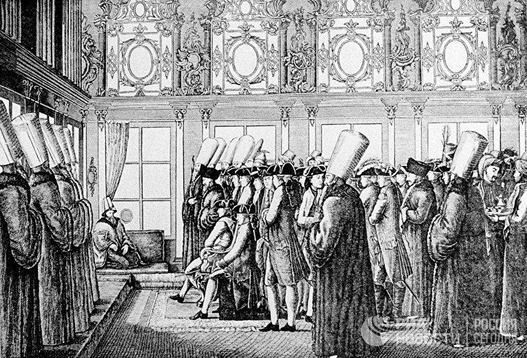 Репродукция гравюры «Посольство князя Н.В.Репнина в Турцию для ратификации Кючук-Кайнарджийского мира»