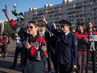 Сотрудники «Белорусской железной дороги» во время акции протеста в Минске