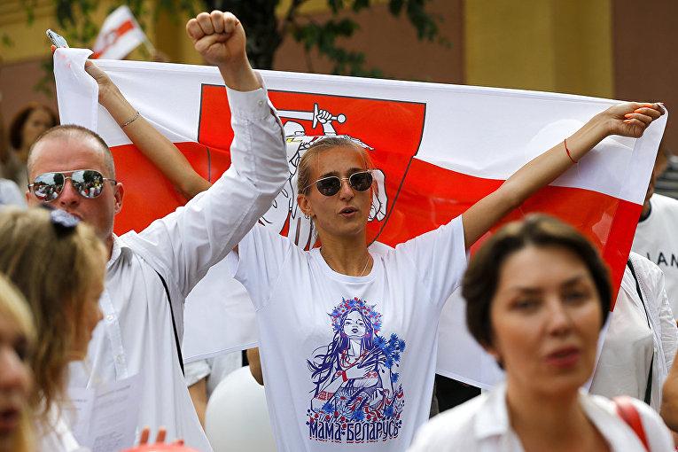 Участники протестов в Минске