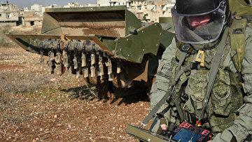 Разминирование восточных районов сирийского города Алеппо с помощью робототехнического комплекса «Уран-6»