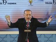 Президент Турции Реджеп Тайип Эрдоган выступает в Анкаре