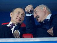 Президент России Владимир Путин и президент Белоруссии Александр Лукашенко на церемонии закрытия Европейских игр-2019 в Минске