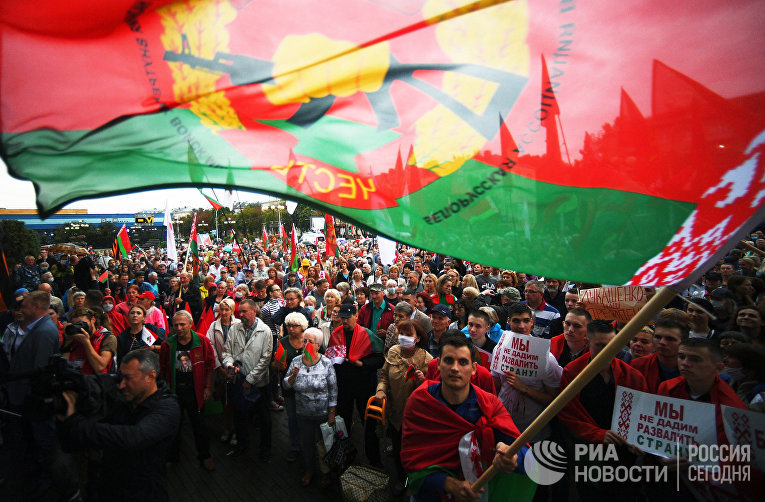 Акция в поддержку Александра Лукашенко в Минске