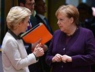Председатель Европейской комиссии Урсула фон дер Ляйен и канцлер ФРГ Ангела Меркель на саммите ЕС в Брюсселе
