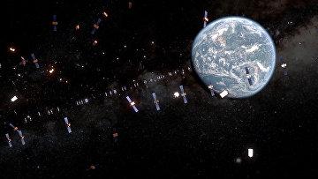 Спутники и космический мусор на орбите Земли