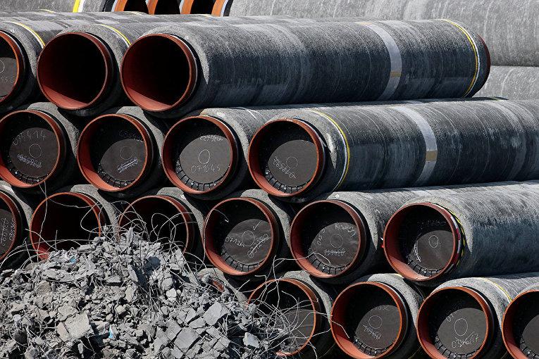 Трубы для газопровода «Северный поток - 2» в Мукране, Германия