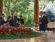 Президент РФ Владимир Путин и председатель КНР Си Цзиньпин в Душанбе