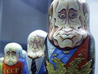 Матрешки, изображающие Путина, Ельцина и Горбачева