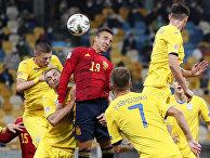 Сборная Украины по футболу во время матча со сборной Испании