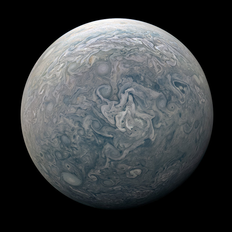 Составной снимок, изображающий весь Юпитер