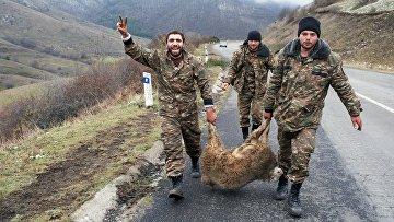 Ситуация в Нагорном Карабахе. Военнослужащие армии обороны Арцаха несут овцу в городе Лачин