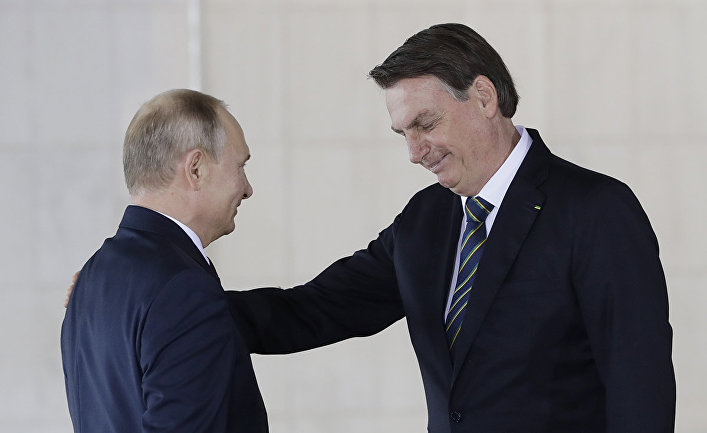 Президент РФ Владимир Путин и президент Бразилии Жаир Болсонару