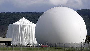 Купол спутниковой связи, являющийся частью альянса наблюдения, известного как Five Eyes близ Бленхейма