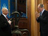 Встреча главы МИД РФ С. Лаврова с председателем Палаты депутатов Ливии А. Салехом