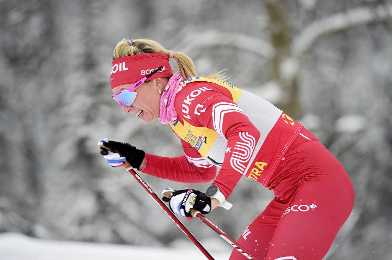 Россиянка Татьяна Сорина во время гонки на этапе Кубка мира в Руке, Финляндия