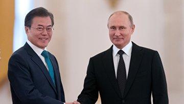 Президент РФ Владимир Путин и президент Республики Корея Мун Чжэ Ин. 22 июня 2018
