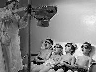 Воспитанники московского детского сада принимают солнечные ванны