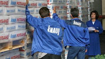 Отгрузка готовых строительных смесей на заводе группы немецких компаний Knauf в подмосковном Красногорске