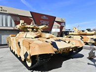 Боевая машина поддержки танков (БМПТ-72) «Терминатор-2» навыставке вооружений Международного военно-технического форума (МВТФ) «Армия-2020» ввоенно-патриотическом парке «Патриот»