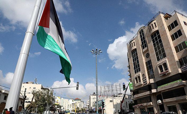 Палестинский флаг в центре города Хеврон