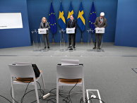 Шведские политики на пресс-конференции по поводу введения дополнительных ограничений из-за пандемии коронавируса