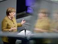 Ангела Меркель выступает в бундестаге, Берлин, Германия