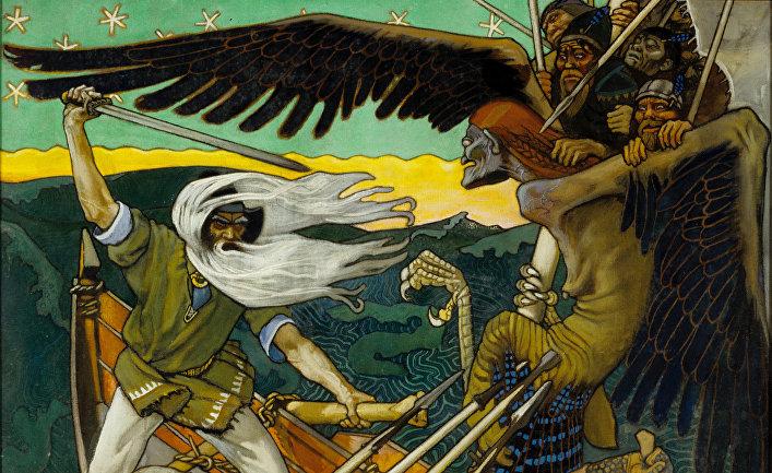 Хозяйка Севера Лоухи нападает наВяйнямёйнена ввиде гигантского орла. «Защита Сампо», Аксели Галлен-Каллела, 1896