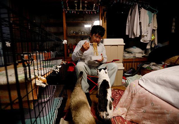Человек, спасающий котов, забытых в зоне отчуждения в Фукусиме