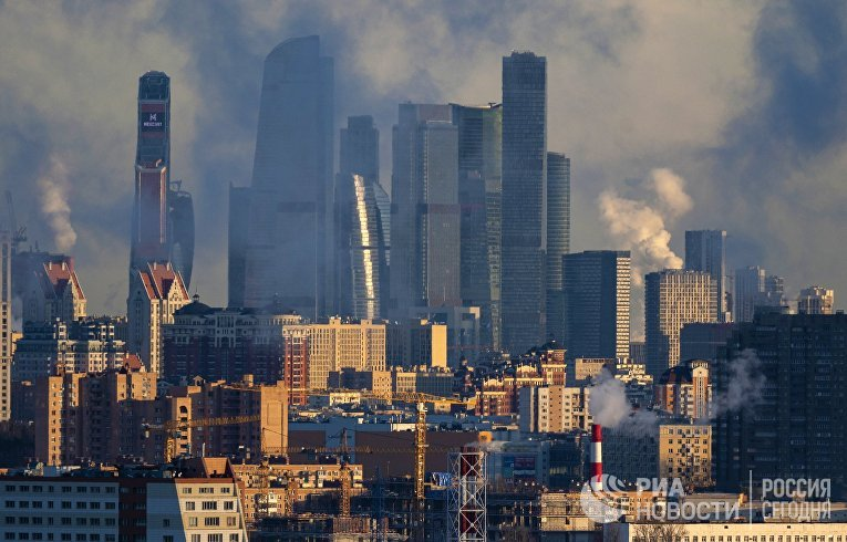 "Вид на деловой центр ""Москва-Сити"" в Москве"