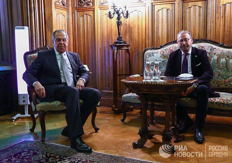 Встреча главы МИД РФ С. Лаврова с председателем ПАСЕ Х. Дамсом