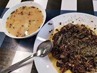 Польские блюда журек и кашанка с луком