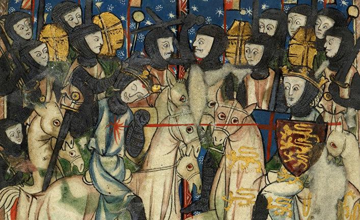 Вильгельм I Завоеватель наносит удар королю Англии Гарольду в битве при Гастингсе. XIII в.