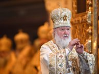 Патриарх Московский и всея Руси Кирилл во время богослужения