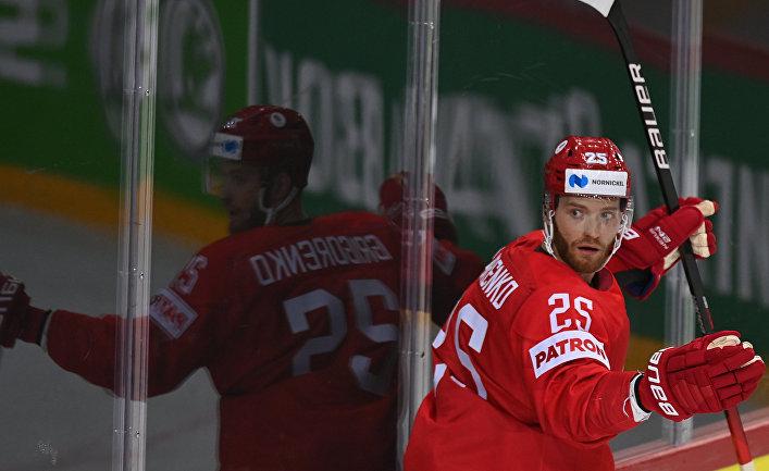 Михаил Григоренко (Россия) в матче группового этапа Чемпионата мира по хоккею 2021 между сборными командами России и Чехии