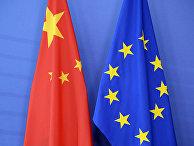 Флаги КНР и ЕС